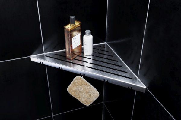 ABLAGO Design-Duschablage aus Edelstahl-Befliesbare Duschablage-Duschablage mit Haken - Classic-01