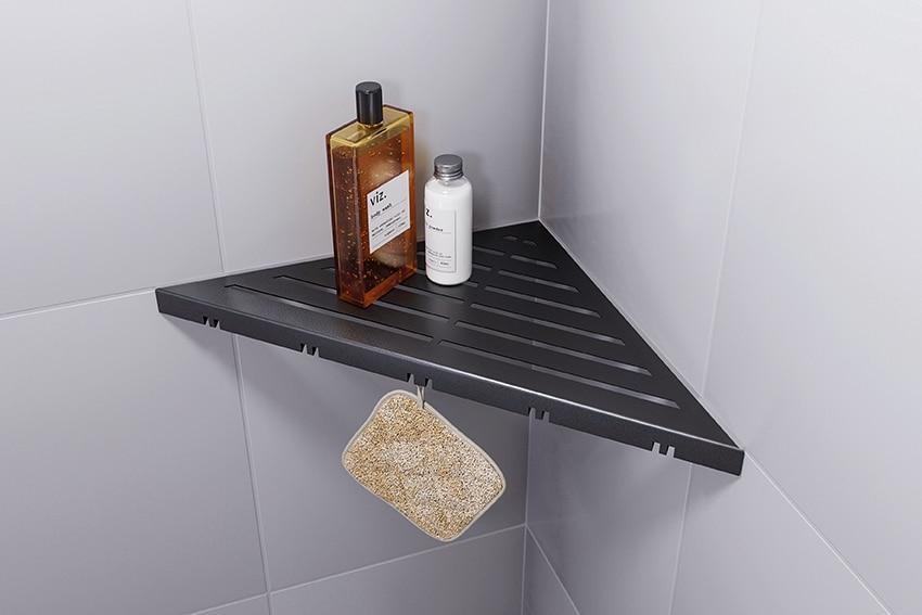 ABLAGO Design-Duschablage aus Edelstahl-Befliesbare Duschablage-Duschablage mit Haken-Classic-02