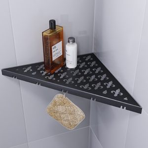 Duschablage mit Haken – Vintage (brilliant schwarz)