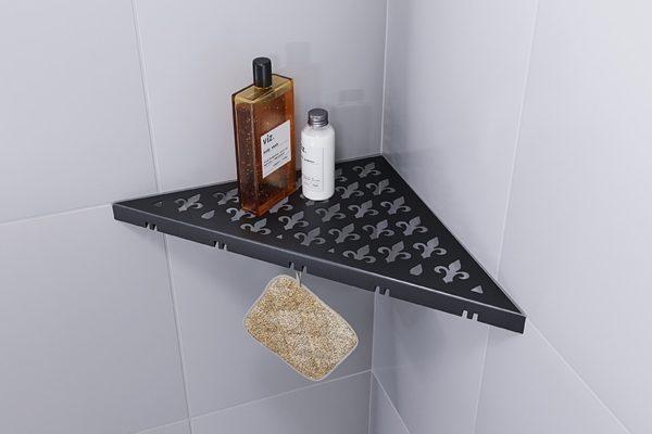 ABLAGO Design-Duschablage aus Edelstahl-Befliesbare Duschablage-Duschablage mit Haken-Vintage-04